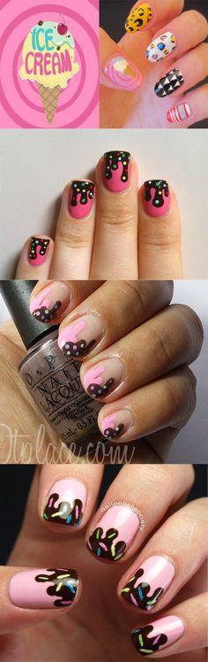 Sooooooooo Cute Ice Cream Nail Art Video Tutorial to try!