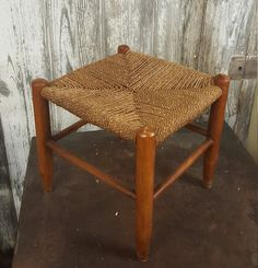 woven top stool primitive country woven hemp rope vintage foot kids stool