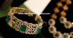 Gorgeous designer diamond single bangle in broad frame decked with square shaped emeralds. Accentuate your attire be it ethnic or contemporary with this broad diamond bangle to add the sparkle. Gold Bangles Design, Gold Earrings Designs, Jewelry Design, Gold Designs, Necklace Designs, Emerald Jewelry, Gold Jewellery, Emerald Bracelet, Jewellery Earrings
