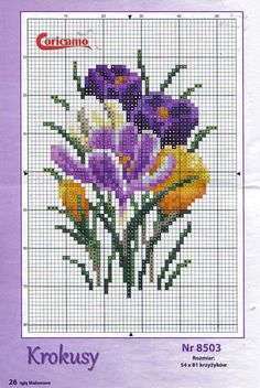 "Photo from album ""Dein Kreuzstich magazin 02 on Yandex. Cross Stitch Cards, Cross Stitch Flowers, Cross Stitch Kits, Counted Cross Stitch Patterns, Cross Stitch Designs, Cross Stitching, Cross Stitch Embroidery, Embroidery Patterns, Hand Embroidery"