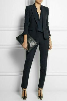 Fitted slacks, silky blouse, blazer with rolled sleeves, black pumps Business Professional Attire, Professional Wardrobe, Work Wardrobe, Business Outfits, Office Outfits, Business Fashion, Business Casual, Business Formal, Wardrobe Basics