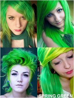 Coloring hair balsam - Spring green Directions brand hair colour A semi-permanent hair dye with conditioner for direct application to the hair. Gothic Hairstyles, Permed Hairstyles, Bright Hair, Colorful Hair, Semi Permanent Hair Dye, Bleaching Your Hair, Synthetic Hair Extensions, Bleached Hair, Spring Green