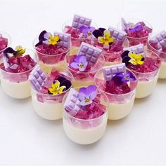 Too much deliciousness for one photo! 💕 Vanilla pannacotta cups topped with grape jelly and mini choc bars via x Mini Desserts, Shot Glass Desserts, Mini Dessert Cups, Jelly Desserts, Dessert Glasses, Small Desserts, Dessert Table, Delicious Desserts, Sweet Table Wedding