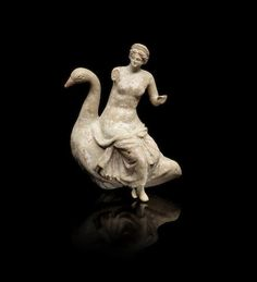 A Greek terracotta group of Aphrodite on a goose. - Or Leda and the Zeus as a swan, the bird with the a long curving neck, the goddess depicted seated on the back of the bird. Ancient Greek Art, Ancient Greece, Ancient History, Art History, Hellenistic Art, Hellenistic Period, Roman Sculpture, Sculpture Art, Statues
