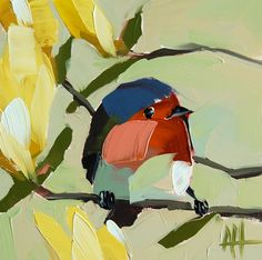 Robin no. 114 original bird oil painting by Angela Moulton