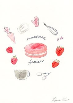 Strawberry Macaron Recipe - Hand-painted Watercolor print 5 x 7 - Paris French Laduree Herme Bakery Kitchen Bakery Kitchen, Kitchen Art, Watercolor Food, Watercolor Print, Watercolor Ideas, Macarons, Food Illustrations, Illustration Art, Strawberry Macaron