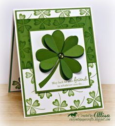 We are having a GO GREEN Challenge this week at Heart 2 Heart Challenges . Patrick's Day right around the corner, it was the per. St Patricks Day Cards, Saint Patricks, Tarjetas Pop Up, St Paddys Day, Creative Cards, Greeting Cards Handmade, Scrapbook Cards, Homemade Cards, Stampin Up Cards
