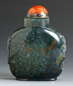 Moss Agate Snuff Bottle. Round flattened flask with foo dog handles. Ht. 2 1/4""