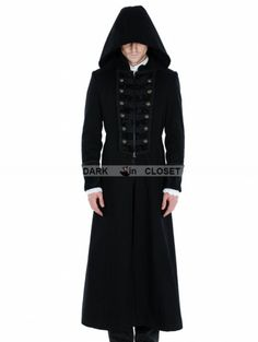 Pentagramme Black Gothic Male Palace Style Overlength Hoodie Coat Steampunk Clothing, Steampunk Fashion, Gothic, Braut Make-up, Fashion Wallpaper, Trends, Character Outfits, Fashion Outfits, Fashion Men