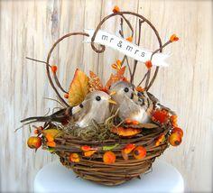 Bird Cake Topper , Rustic Fall Wedding , Woodland Nest , Love Birds , Coral Cake Topper..