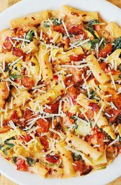 Low FODMAP Recipe and Gluten Free Recipe - Healthy penne with chicken and spinach