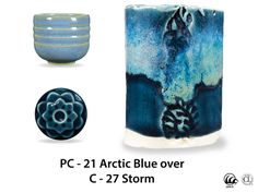 Pictures of layered glazes PC-21 Arctic Blue : (PC) Potter's Choice