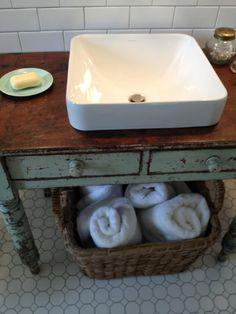 Bathroom cabinet in reclaimed farmhouse