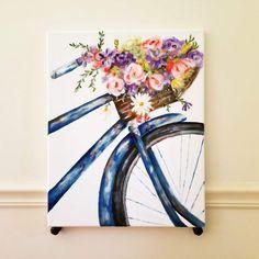 Flower basket bike Watercolor Paintings For Beginners, Simple Acrylic Paintings, Watercolor Art, Small Canvas Art, Diy Canvas Art, Basket Drawing, Bicycle Painting, Dragonfly Art, Flower Basket