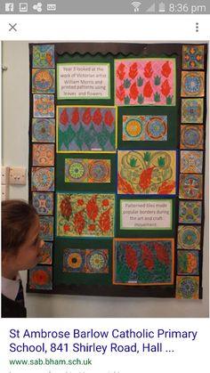 William morris Primary School Art, Art School, Ks2 Display, Display Ideas, Tile Patterns, Print Patterns, William Morris Art, Victorian Art, Classroom Displays