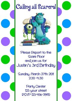 Girls or Boys Monsters Inc Printable Birthday Party Invitation Digital Print Your Choice