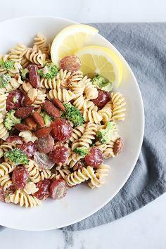 30 minute easy broccoli grape pasta salad
