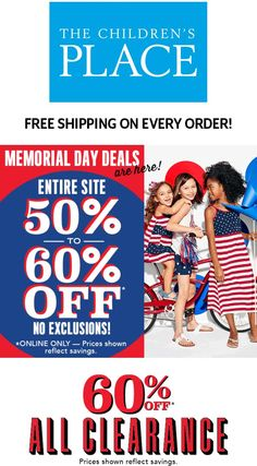 Pinned May 24th: 50-60% off everything online at The #ChildrensPlace #TheCouponsApp