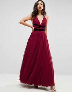 fe33fa6081 Asos Premium Tulle Maxi Prom Dress With Velvet Ties Burgundy Bridesmaid  Dresses