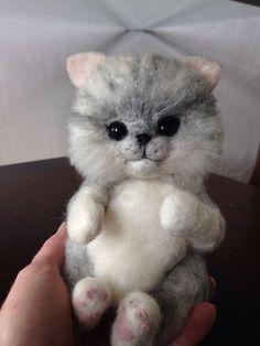 Needle Felted Animal White And Grey Cat Handmade OOAK Cute Kitten Gift Idea   eBay