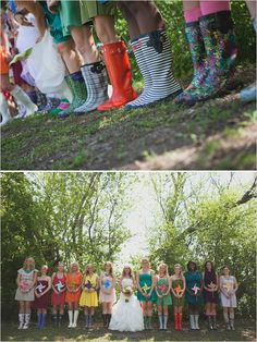 rainbow bridesmaid dresses #wedding #love #rainbowwedding #rainbow #ideas #motif #theme
