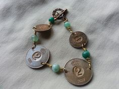 1964 copper coin bracelet with brass wire teamed with chrysocolla, aquamarine and amazonite beads