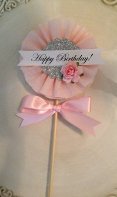 Beautiful Shabby Chic Happy Birthday Wand for Birthday by JeanKnee