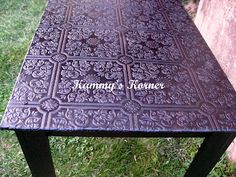 WOW I like that table top**************Kammy's Korner: Turning Garbage into Glamour, Yep, this just might have to be put in the top 10 of something to do with my dining room table! embossed wallpaper, paint, and a sealant. Paintable Wallpaper, Embossed Wallpaper, Textured Wallpaper, Painted Wallpaper, Sticky Wallpaper, Furniture Projects, Furniture Makeover, Home Projects, Home Furniture
