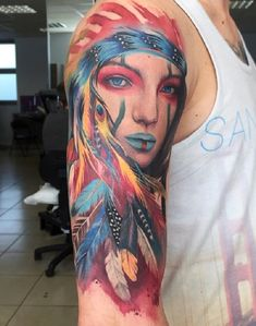 Amazing colored Native American Tattoo - 70 Native American Tattoo Designs