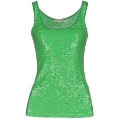 P.a.r.o.s.h. Tank Top ($169) ❤ liked on Polyvore featuring tops, green, green sleeveless top, green tank, green tank top, jersey tank top and green sequin tank top