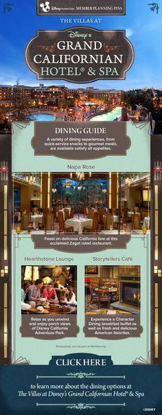 Plan your next Disney Vacation Club vacation to the Villas at Disney's Grand Californian Hotel & Spa with our helpful Member Planning Pin showing what dining locations are available at the Resort. Napa Rose, Storytellers Cafe and the Hearthstone Lounge are all restaurants located at the Hotel. Click to learn more!