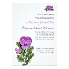 Pansy Spring Floral Formal Wedding Invitation