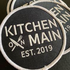 Loving these new patches for Kitchen on Main! Remember off three or more items purchased from our shop! Custom Patches, Sew On Patches, Iron On Patches, Pantone Solid Coated, Pantone Color Match, Clothing Patches, Patch Design, Back Patch, Artwork Design