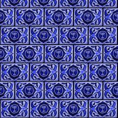 Navy Menorah Tile fabric by winterblossom on Spoonflower - custom fabric