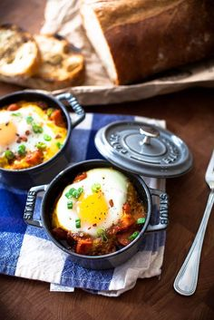 Spicy baked eggs in a sun dried tomato and jalapeno sauce.