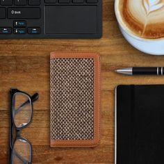 """Kalibri Wallet Case Hülle """"Donna"""" für Samsung Galaxy S5 / S5 Neo / S5 LTE+ / S5 Duos - Cover Flip Tweed Kunstleder Tasche mit Kartenfach in Braun: Amazon.de: Elektronik"""