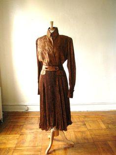 VINTAGE 1980s Plus Size Silk Pleated Dress by vintageshaun on Etsy, $60.00