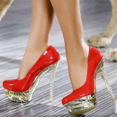 hot red sparkly stilettos....