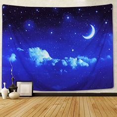 Moon and Stars Tapestry Wall Hanging White Cloud Tapestry Blue Starry Tapestry Galaxy Tapestry Universe Night Sky Wall Tapestry Space Decor Tapestry for Bedroom Living Room Dorm Room (M, 6 star) Space Tapestry, Tree Tapestry, Window Hanging, Tapestry Wall Hanging, Hanging Stars, Living Room Bedroom, Dorm Room, Boys Room Decor, Dorm Decorations