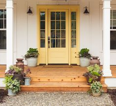 Doorsmouth of chi front door paint colors, painted front doors, yellow. Yellow Front Doors, Front Door Paint Colors, Painted Front Doors, Front Door Design, Front Door Decor, Front Porch, Country Front Door, Front Door Makeover, Modern Farmhouse Porch