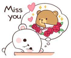 Bear Couple : Milk & Mocha by Shortie sticker Cute Cartoon Images, Cute Couple Cartoon, Cute Love Cartoons, Cute Cartoon Wallpapers, Cute Love Pictures, Cute Love Gif, Cute Bear Drawings, Kawaii Drawings, Stickers Kawaii