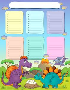 Illustration about Weekly school timetable thematics 2 - vector illustration. Illustration of artwork, dino, lava - 74049734