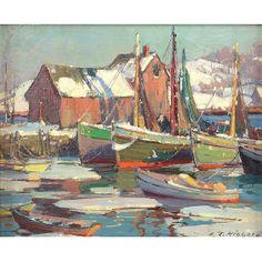 Aldro Thompson Hibbard (1886-1972) Winter Harbor Rockport Motif #1.