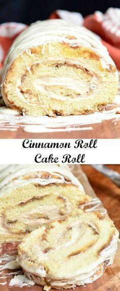 Cinnamon Roll Cake Roll from www.willcookforsmiles.com?utm_content=buffer49c0b&utm_medium=social&utm_source=pinterest.com&utm_campaign=buffer #cinnabon #dessert: