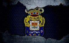 Lataa kuva Las Palmas FC, 4k, La Liga, jalkapallo, tunnus, UD Las Palmas-logo, Las Palmas de Gran Canaria, Espanja, football club, metalli rakenne, grunge