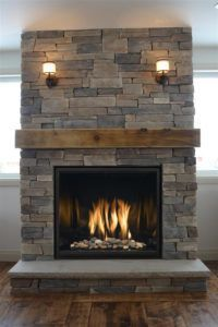 Incredible Fireplace Ideas for Your Best Home Design - Natural Stone Fireplaces. A high, exceptional fireplace is the prime focus of - Cabin Fireplace, Farmhouse Fireplace, Fireplace Screens, Fireplace Remodel, Living Room With Fireplace, Fireplace Design, Fireplace Mantels, Fireplace Cover, Fireplace Ideas