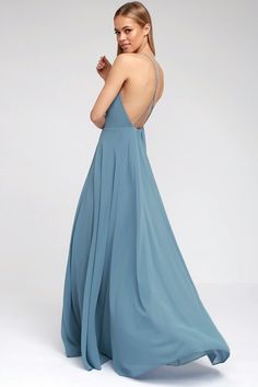 "Lulus ""Mythical Kind of Love"" Slate Blue Maxi Dress"