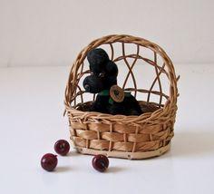 Vintage Poodle Dog In Basket - West German Made