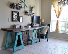 Craft room reveal by Poofy Cheeks via Funky Junk Interiors / love the saw horse table Funky Junk Interiors, Shop Interiors, Home Projects, Home Crafts, Craft Desk, Craft Rooms, Craft Tables, Craft Space, Diy Desk