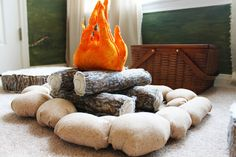 Hand made fire pit, camping room, woodland theme, campfire The Ragged Wren boys theme Camping Room, Camping Theme, Go Camping, Camping Fabric, Backyard Camping, Family Camping, Camping Ideas, Camping Hacks, Woodland Room